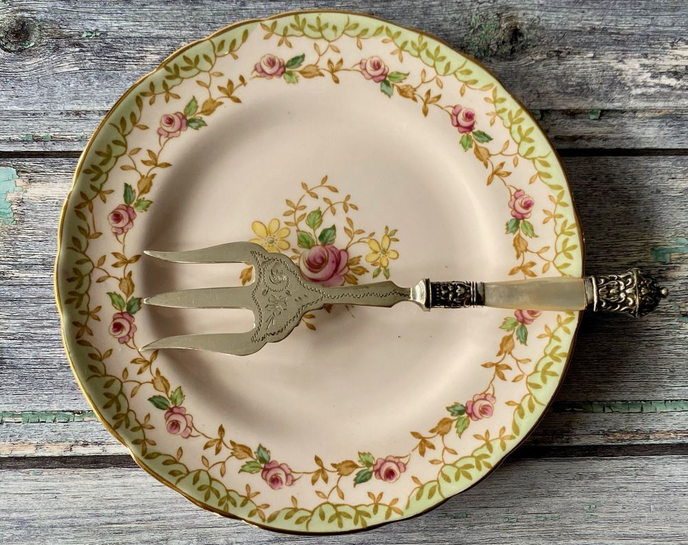 Victorian Mother of Pearl & Silver Plated Bread Fork