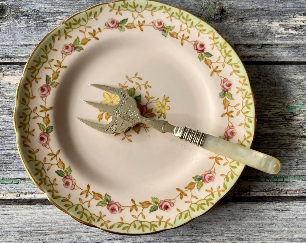 Mother of Pearl & Silver Plated Bread Fork