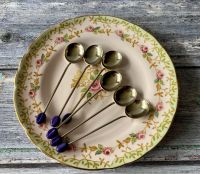 Set of Six Silver Plated Coffee Spoons with Purple Bean Finials