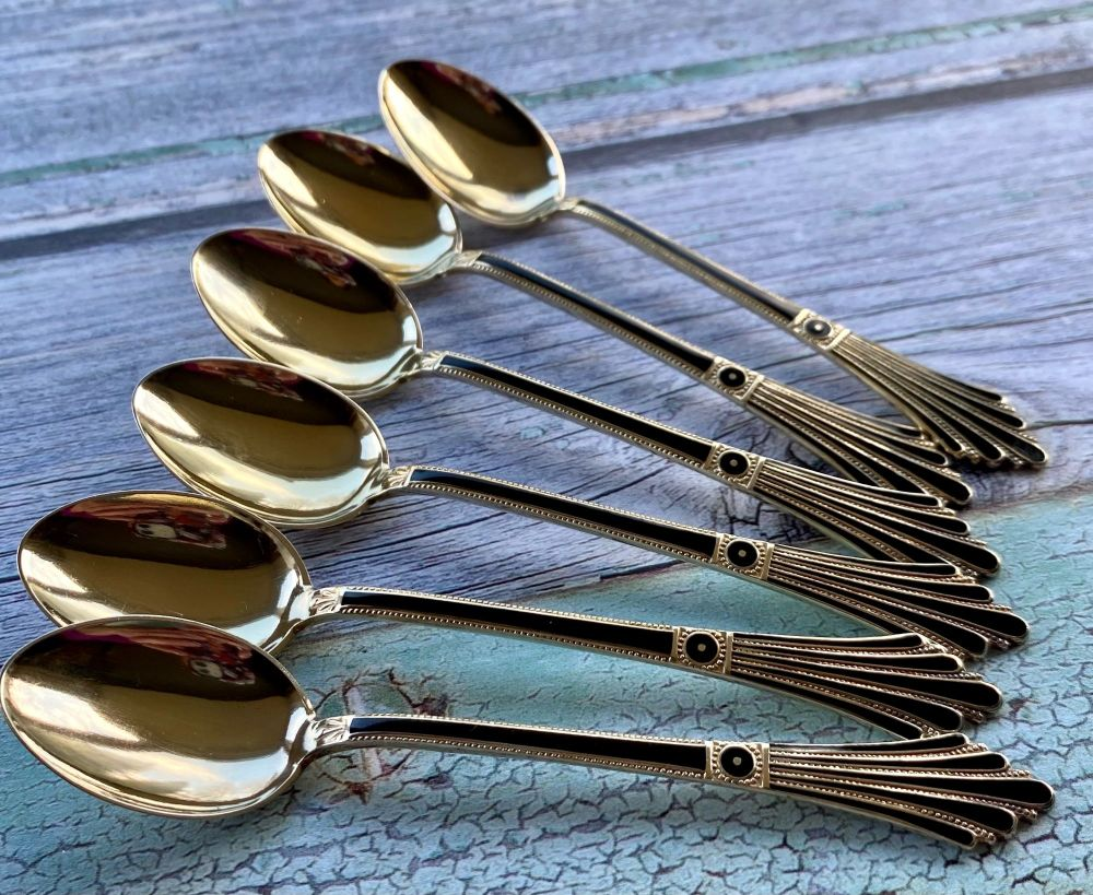 Set of Six Solid Silver Gilt & Enamel Coffee Spoons by David Anderson, Norw