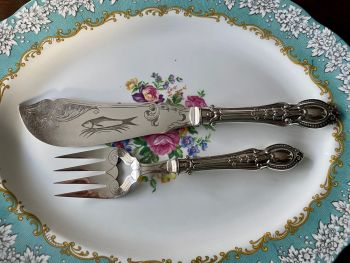 Ornate Pair of Silver Plated Fish Servers