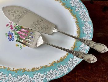 Pair of Antique Silver Plated Fish Servers