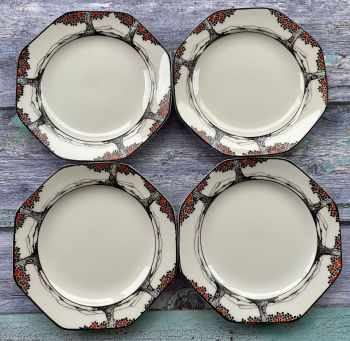 "Crown Ducal ""Orange Tree"" Set of Four Hexagonal Tea Plates"