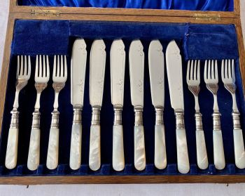 Mother of Pearl & Silver Plated Fish Cutlery Set for Six