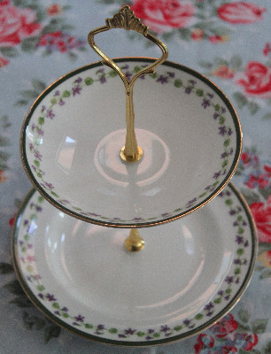Mini cake stand made from vintage plates