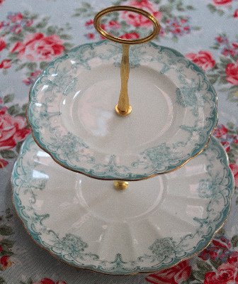 Tuscan English bone china, Two Tier cake stand
