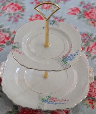Two Tier Cake Stand, Victoria bone china