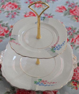 Two Tier Cake Stand, Victoria bone china
