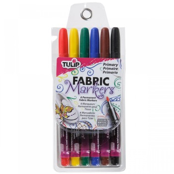 Fine Tip Permanent Fabric Marker Pens - Primary - 6 Pack