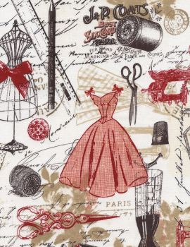Timeless Treasures Fabric - Vintage Dressmaking - Red - 100% Cotton