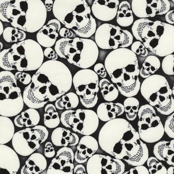 Timeless Treasures Fabric - Glow in the Dark Skulls - Black - 100% Cotton