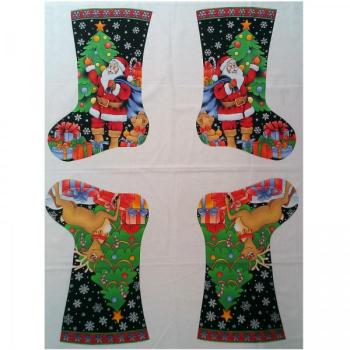 Nutex Fabric - Father Christmas Stockings - 2 per panel - 100% Cotton