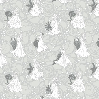 Disney Fabric - Princess Line Drawing - Grey - 100% Cotton