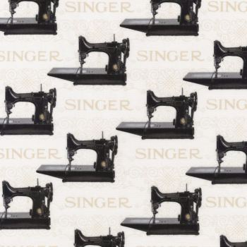 Robert Kaufman Fabric - Vintage Singer Sewing Machine - 100% Cotton