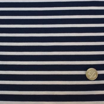 Punta Di Roma Jersey Knit Fabric - Navy Stripes - 68% Polyester, 30% Ramie, 2% Lycra Half Metre