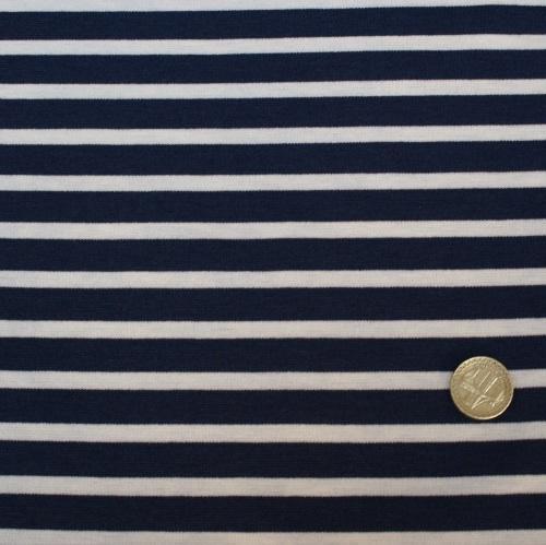 Punta Di Roma Jersey Knit Fabric - Navy Stripes - 68% Polyester, 30% Ramie,