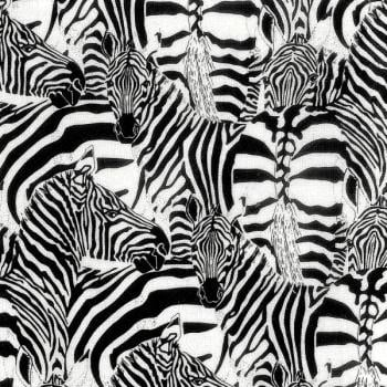Nutex Fabric - Zebras - Black and White - 100% Cotton