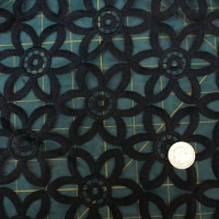 Stitched Net Fabric - Black Floral - 50% Acrylic, 50% Polyester - Half Metre