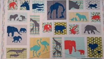 Makower Fabric - Baby Chic Safari Animal Block Panel 7909T - 100% Cotton