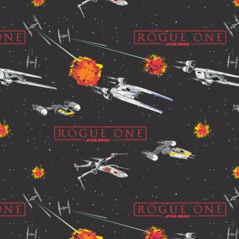Star Wars Rogue One Fabric - Carbon Ships - 100% Cotton