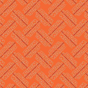 Star Wars The Force Awakens Fabric - Logo - Orange - 100% Cotton