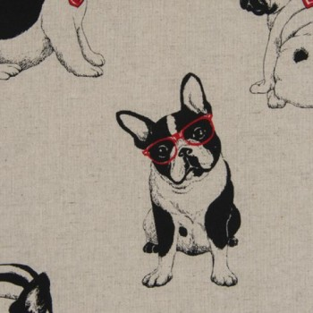 Cosmo Textiles Fabric - Meriken French Bulldogs - Natural - 80% Cotton, 20% Linen