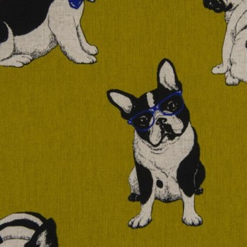 Cosmo Textiles Fabric - Meriken French Bulldogs - Chartreuse - 80% Cotton, 20% Linen