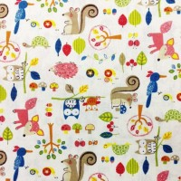 Cosmo Textiles Fabric - Hayashi Woodland Animals - White - 80% Cotton, 20% Linen
