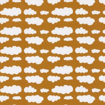 Stretch Jersey Knit Fabric - Clouds on Mustard Yellow NEW - 94% Cotton 6% Elastane Half Metre