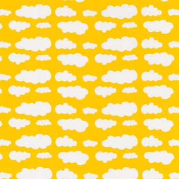 Stretch Jersey Knit Fabric - Clouds on Yellow NEW - 94% Cotton 6% Elastane Half Metre