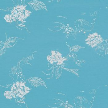 Stretch Jersey Knit Fabric - Metallic Floral - Blue - 94% Cotton 6% Elastane - Half Metre