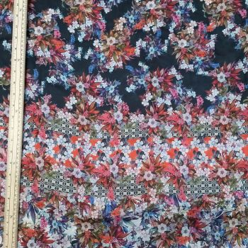 Silk Fabric - Floral - Multicoloured - 100% Silk - Half Metre
