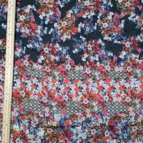 Silk Fabric - Floral - Multicoloured - 100% Silk - Half Metre