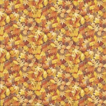 Makower Fabric - Landscapes - Autumn Leaves - Yellow - 100% Cotton