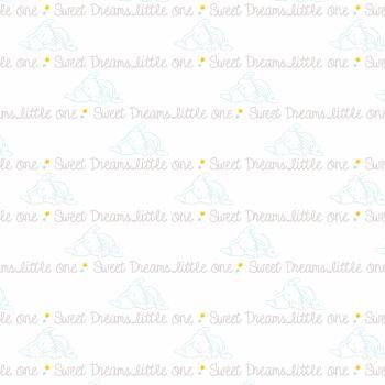 Disney Fabric - Dumbo - Script White - 100% Cotton