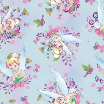Disney Fabric - Tinkerbell Tink Watercolour - Blue - 100% Cotton
