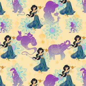 Disney Fabric - Aladdin - Jasmine Lamp - Yellow - 100% Cotton