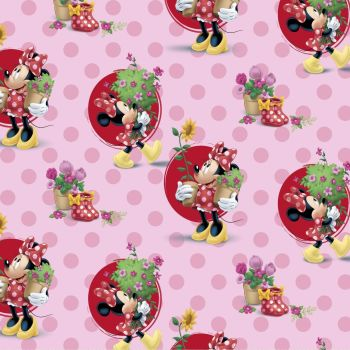 Disney Fabric - Minnie Mouse Smell The Flowers - Pink - 100% Cotton