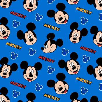 Disney Fabric  - Mickey Mouse Expressions - Blue - 100% Cotton