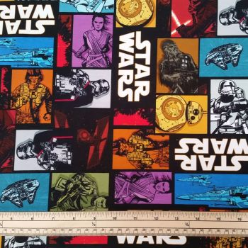Stretch Jersey Knit Fabric - Star Wars - 95% Cotton 5% Elastane - Half Metre