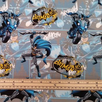 Stretch Jersey Knit Fabric - Batman - 95% Cotton 5% Elastane - Half Metre