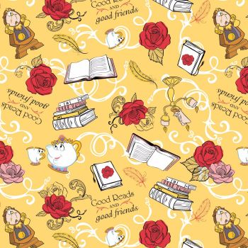 Disney Fabric - Beauty & The Beast - Friends - Gold - 100% Cotton