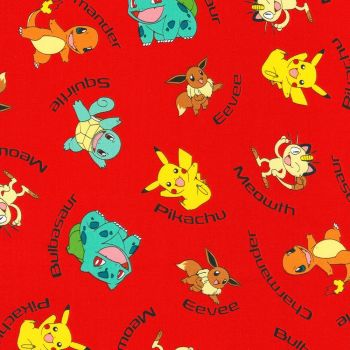Pokemon Fabric - Character Names - Red - 100% Cotton