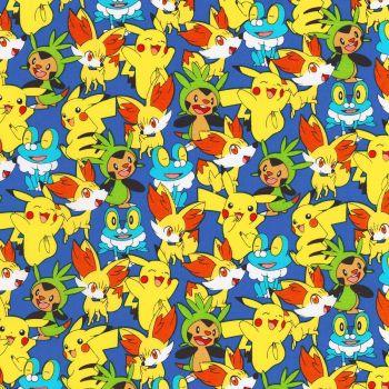 Pokemon Fabric - Character Toss - Royal Blue - 100% Cotton
