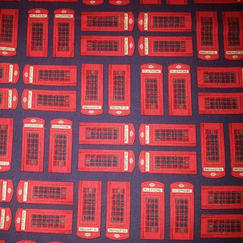 Benartex Fabric - Kanvas - Britain's Best - Phone Boxes - Cotton