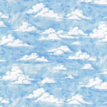 Nutex Fabric - Blue - Clouds - 100% Cotton