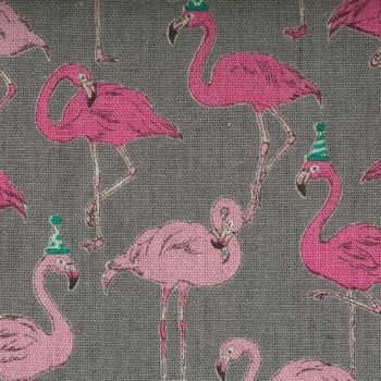 Cosmo Textiles Fabric - Gaku Party Flamingoes - Grey - 80% Cotton, 20% Linen