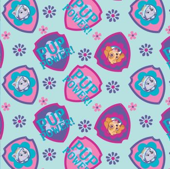 Paw Patrol Fabric - Shield Toss - Light Blue - 100% Cotton