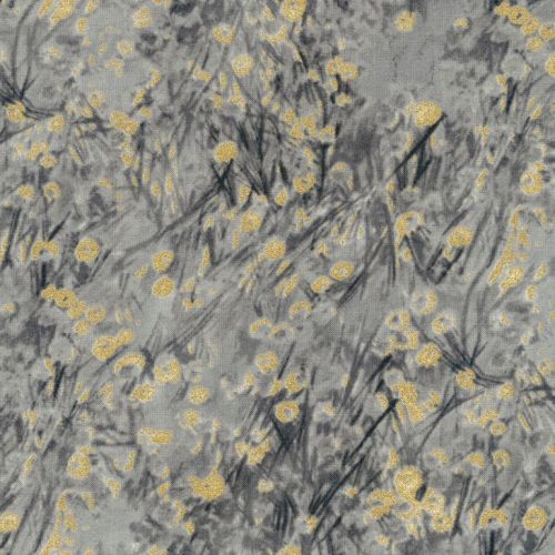 Timeless Treasures Fabric - Metallic Abstract Ditsy Floral - Grey - 100% Co