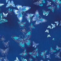 Timeless Treasures Fabric - Dutchess - Butterflies - Metallic Blue - 100% Cotton